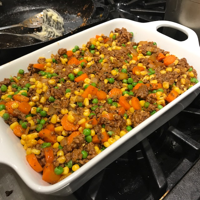 Cottage Pie, ready for the oven