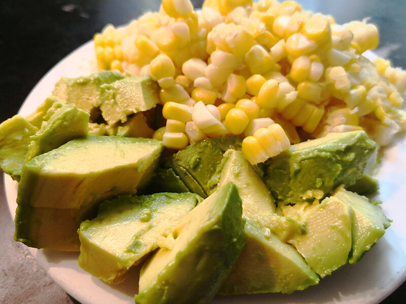 Corn and Avocados, waiting to be added