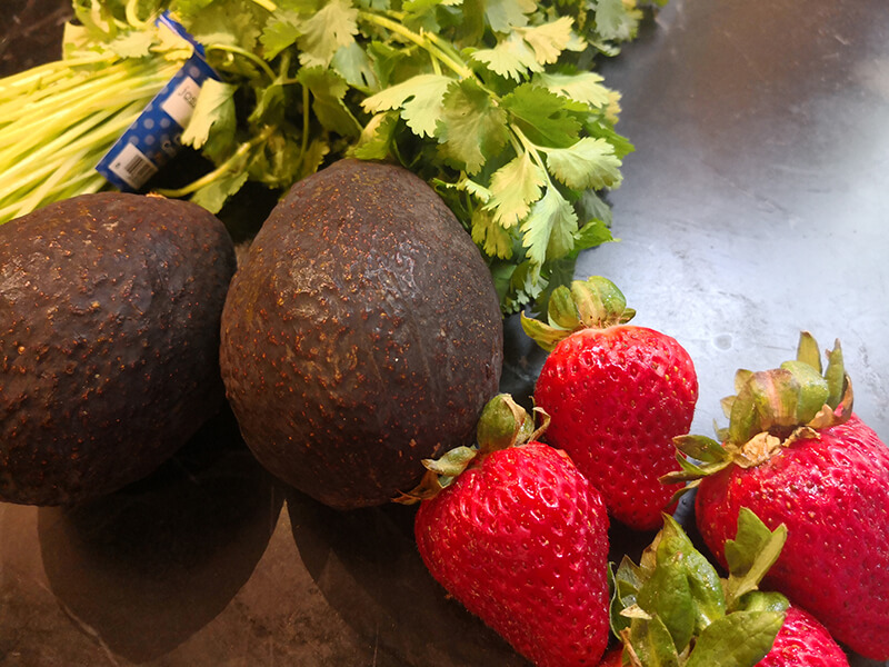 Avocados and Strawberries to be prepped