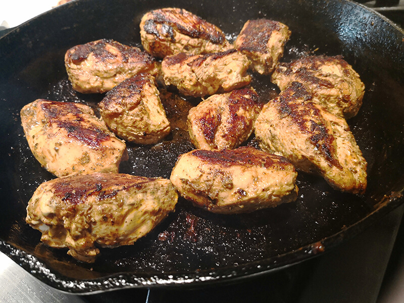 Cooking off the ancho pepper seasoned chicken